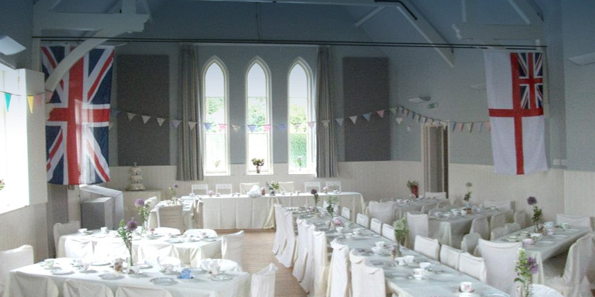 Interior of Eridge Village Hall - getting ready for a wedding reception